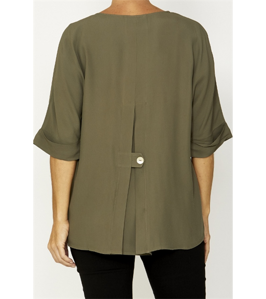 3/4 slv pleat back top