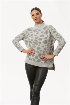 Leopard high neck pullover-knitwear-Gaby's