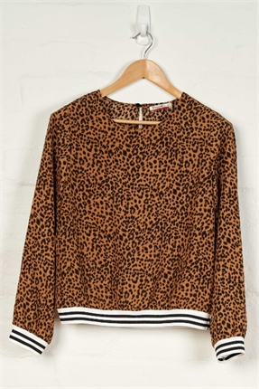 Leopard print round neck top-tops-Gaby's