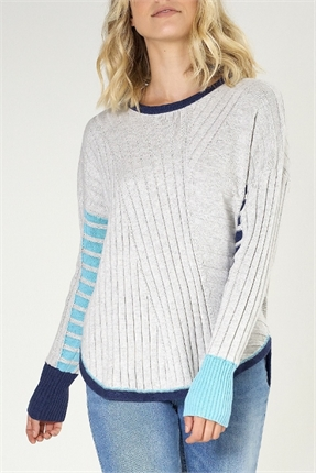Plaited stripe pullover-knitwear-Gaby's