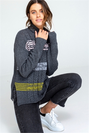 Cable stripe pullover-knitwear-Gaby's