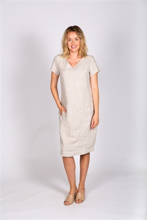 Linen V neck dress-naturals-by-o-and-j-Gaby's