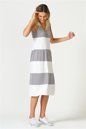 Block stripe sleeveless dress-knitwear-Gaby's