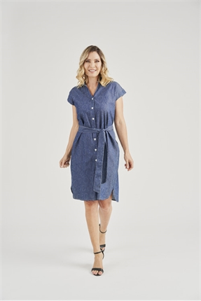 Shirtwaister denim dress-vivid-Gaby's