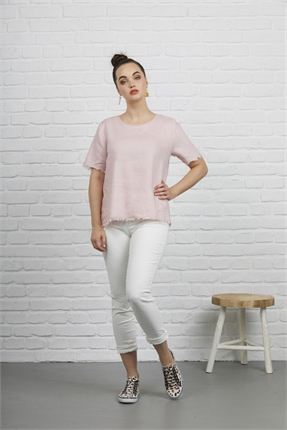 Fray edge linen top-siren-Gaby's