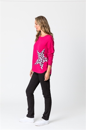 Leopard star sweater-tops-Gaby's