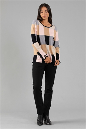Multi check knit-tops-Gaby's